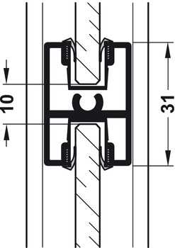 End bracket, for guide tracks, for screw fixing