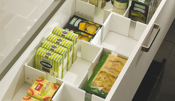 Food storage container insert, for front pull-outs and internal drawer boxes with railing