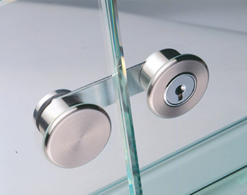 Glass door cam lock, CAM, with plate cylinder, for double door, for glue fixing