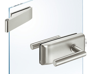 Glass door fitting set, GHR 202, Startec, with 2-piece hinges