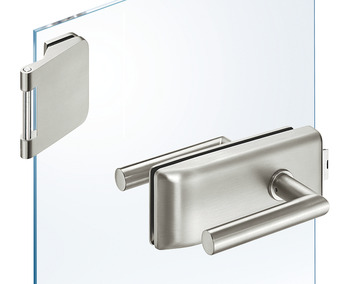 Glass door fitting set, GHR 203, Startec, with 3-piece hinges