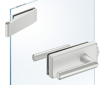 Glass door fitting set, GHR 402, Startec, with 2-piece hinges