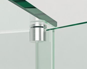 Glass door pivot hinge, opening angle 130°, stainless steel, internal, for all-glass constructions