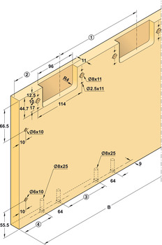 Sliding door fitting, Finetta Flatfront M 35 FB, standard set