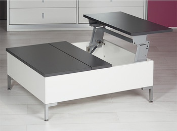 Swing-up table top fitting, Tavoflex, with integrated soft closing mechanism