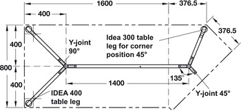Y-corner joint, rigid, 45°, for Idea 400 desking systems